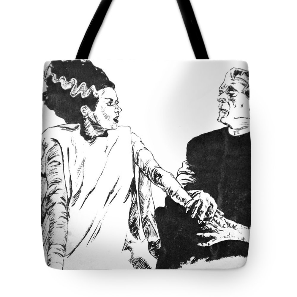 Frankenstein Tote Bag featuring the painting The Bride Of Frankenstein by Bryan Bustard