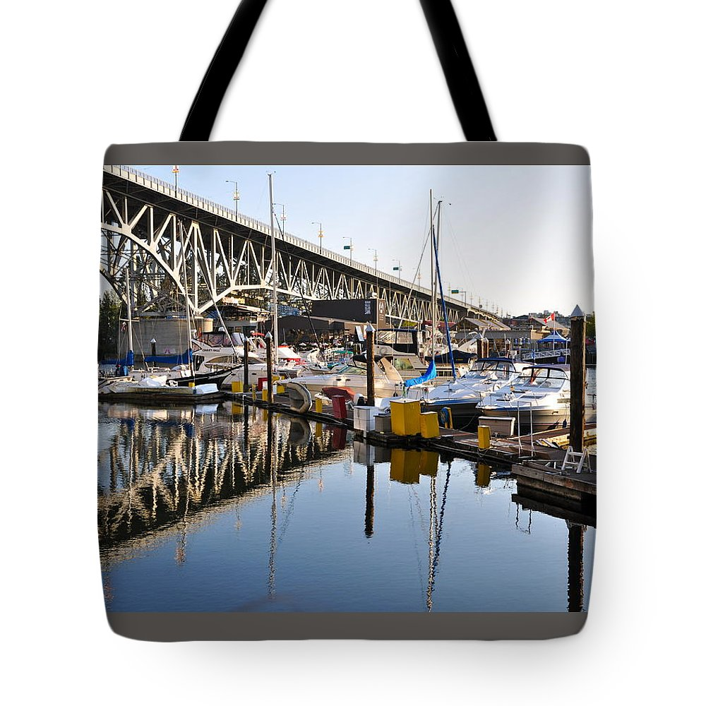 Bridge Tote Bag featuring the photograph The Bridge And Marina by Caroline Reyes-Loughrey
