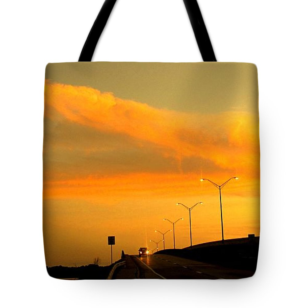 Sunset Tote Bag featuring the photograph The Bridge At Sunset by Ian MacDonald