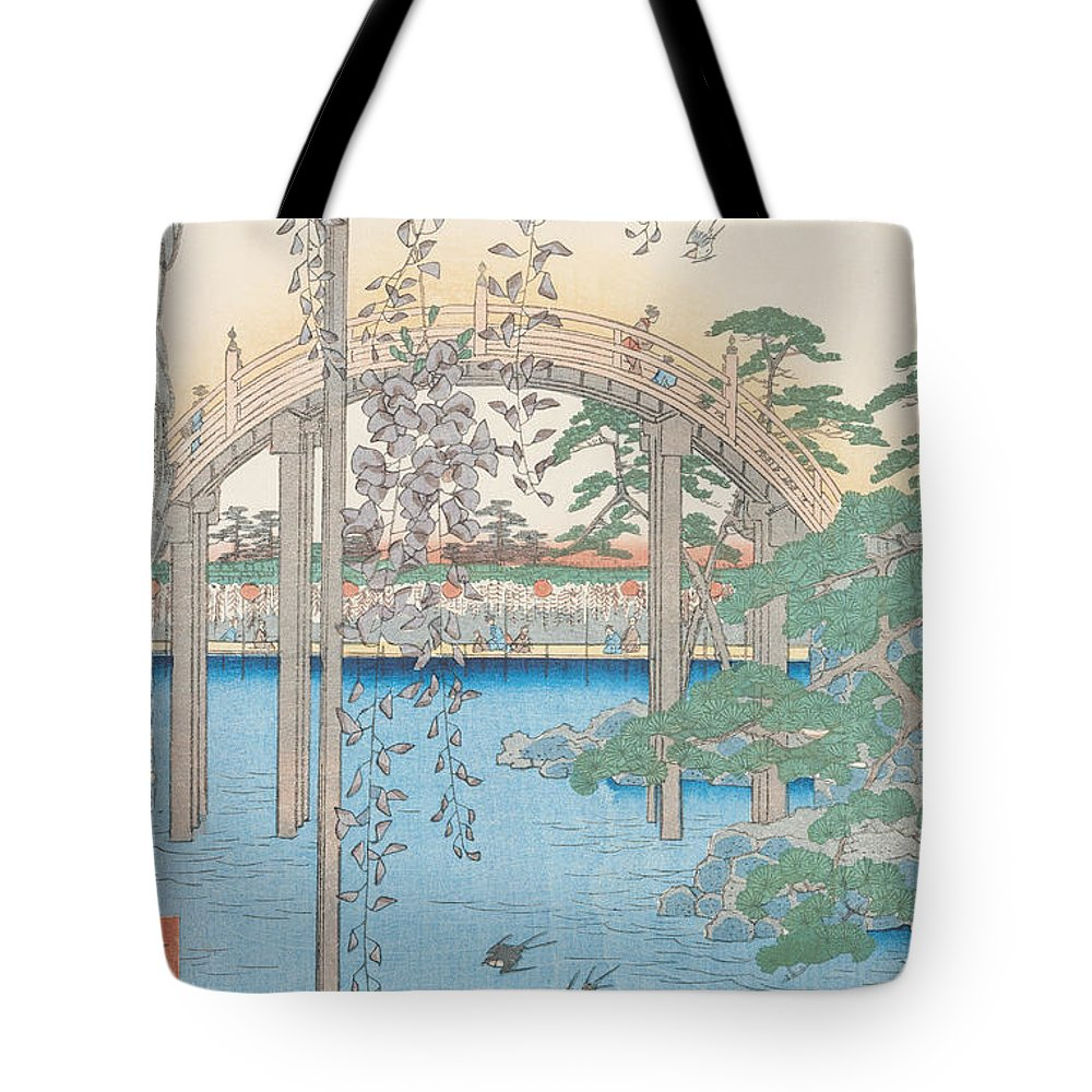 Wooden; River; Tokyo; Flowers; Plant; Blossom Tote Bag featuring the drawing The Bridge With Wisteria by Hiroshige