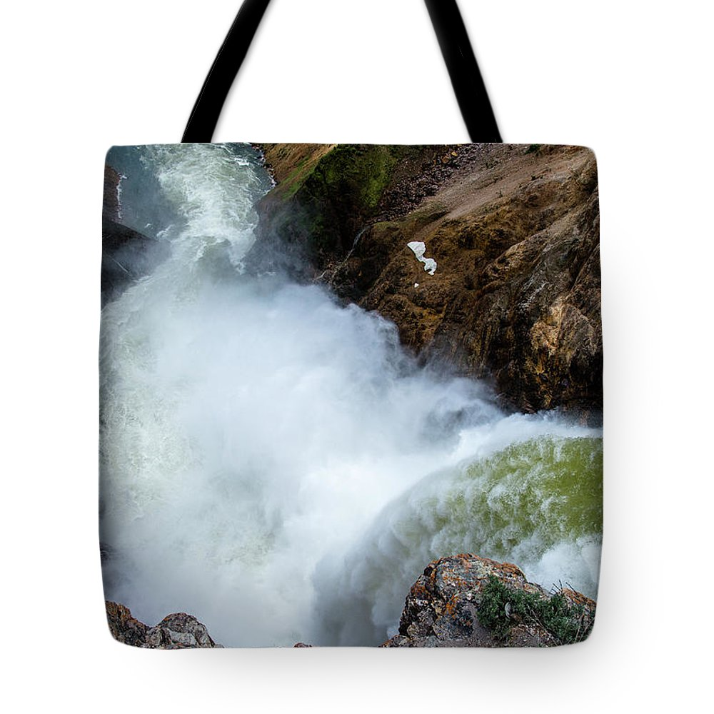 Canyon Tote Bag featuring the photograph The Brink of the Lower Falls of the Yellowstone River by Frank Madia