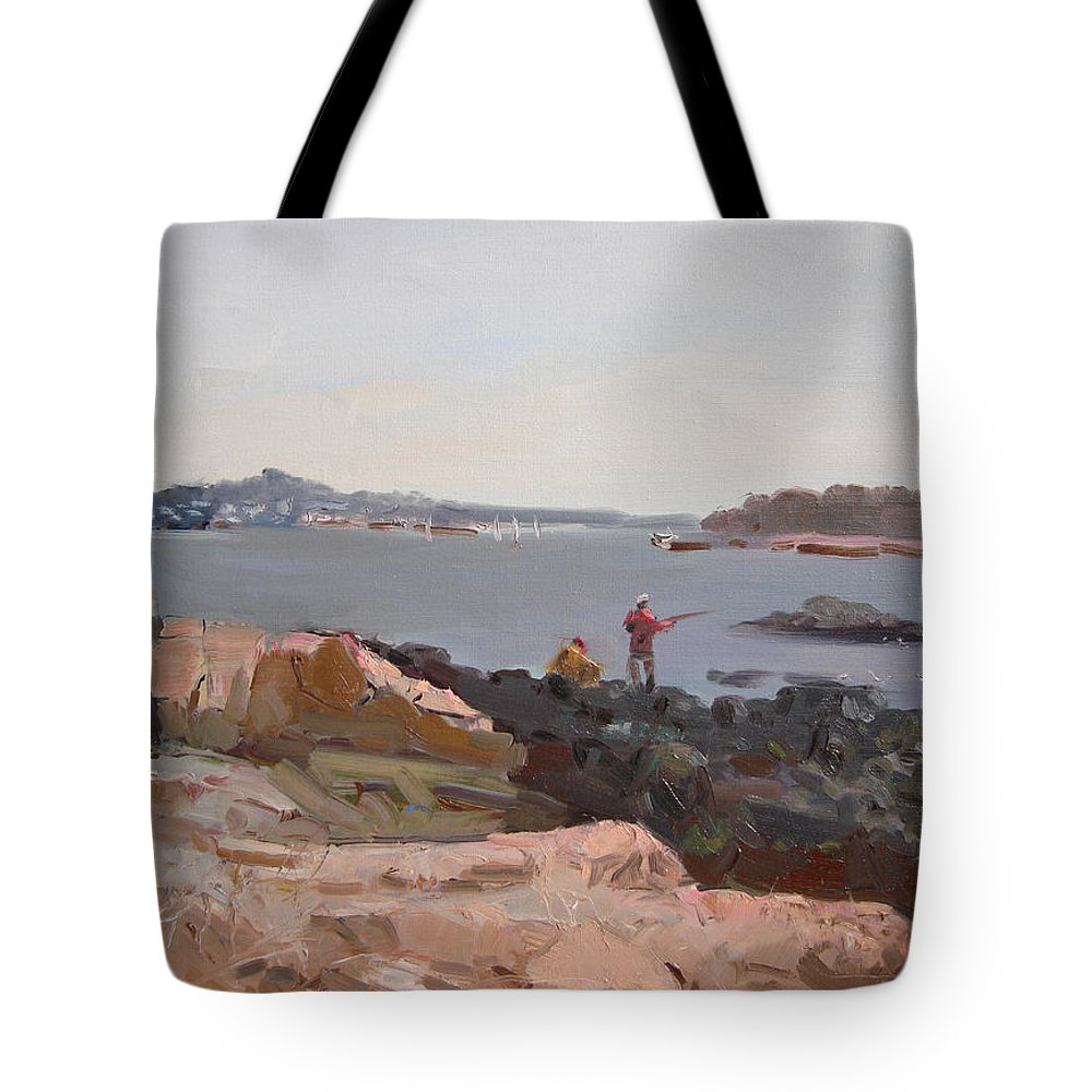 The Bronx Rocky Shore Tote Bag featuring the painting The Bronx Rocky Shore by Ylli Haruni