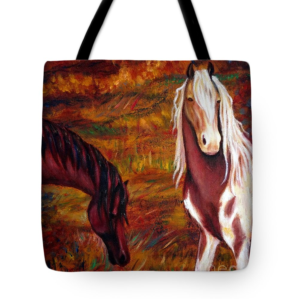 Horses Tote Bag featuring the painting The Browns And The Paints by Georgia's Art Brush