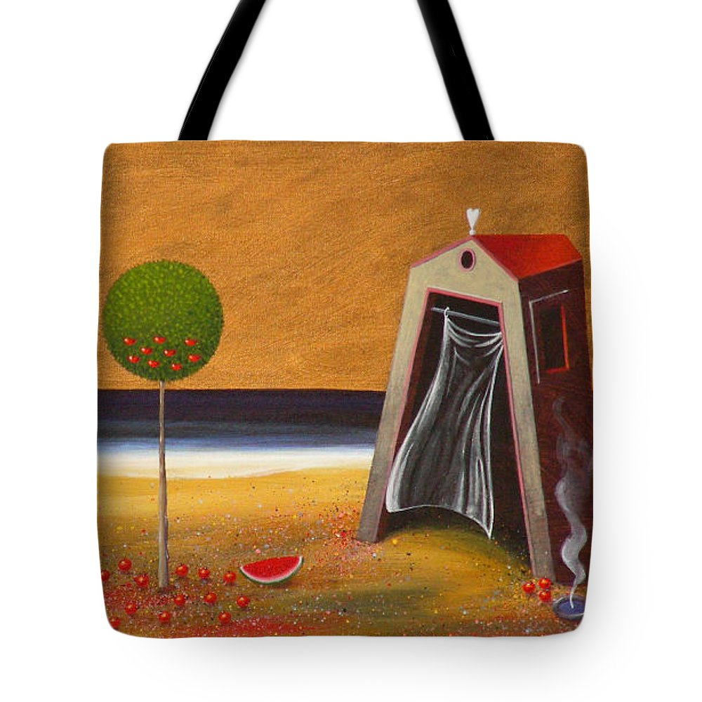 Astronomy Tote Bag featuring the painting the Buff House by Dimitris Milionis