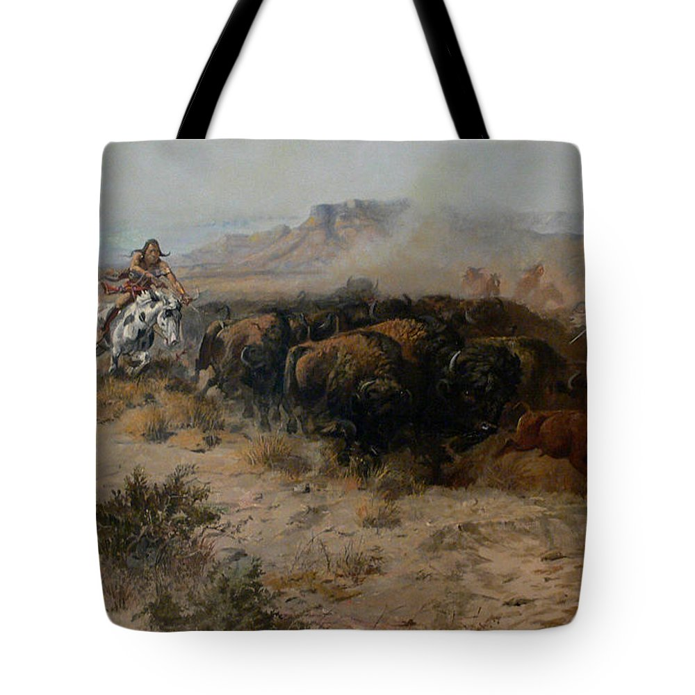 Charles Russell Tote Bag featuring the digital art The Buffalo Hunt by Charles Russell