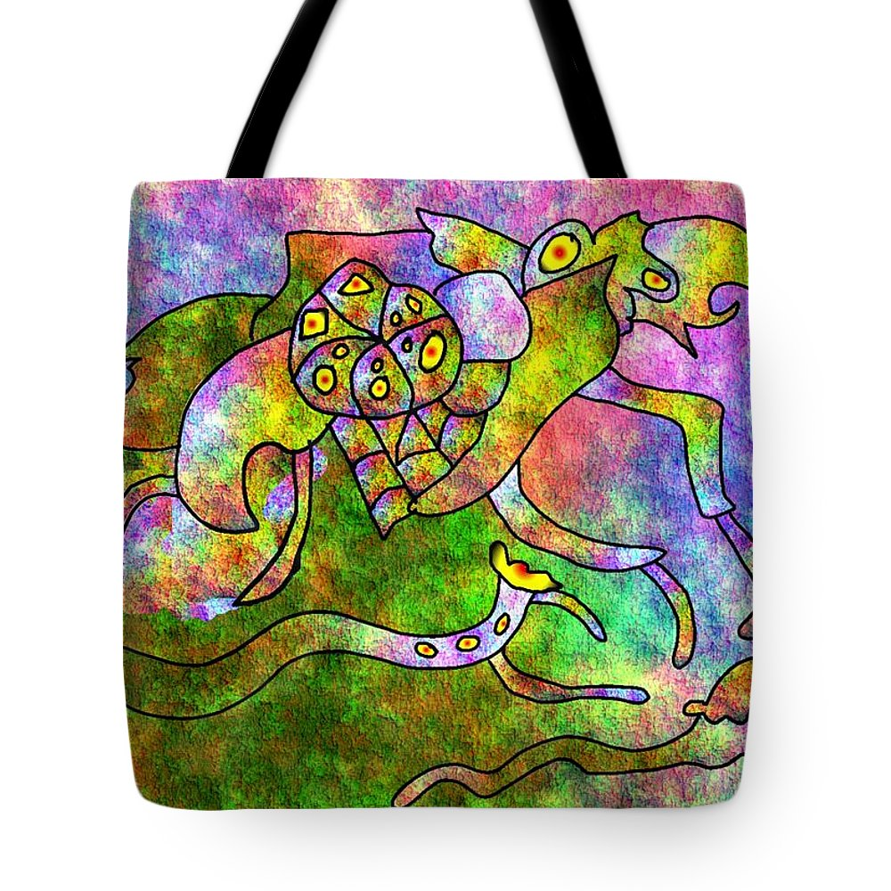 Bugs Color Texture Abstract Fun Tote Bag featuring the digital art The Bugs by Veronica Jackson