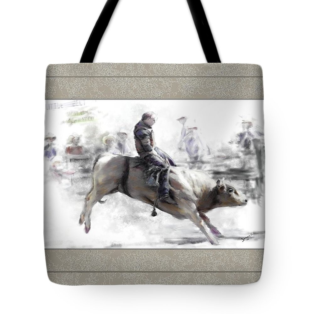 Bull Rider Tote Bag featuring the painting The Bull Rider by Susan Kinney