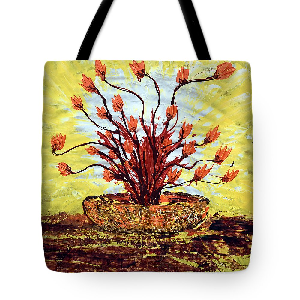 Red Bush Tote Bag featuring the painting The Burning Bush by J R Seymour