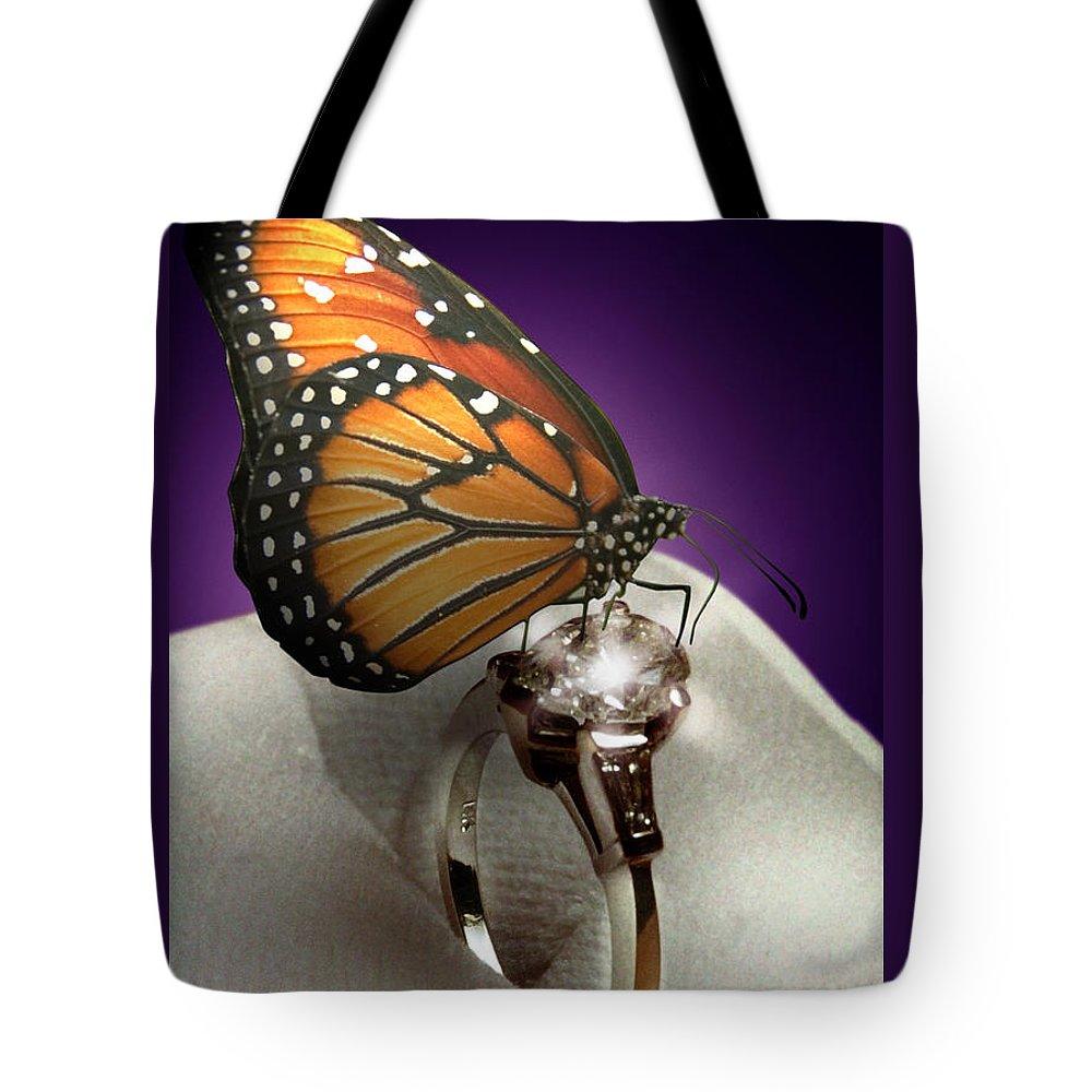 Fantasy Tote Bag featuring the photograph The Butterfly And The Engagement Ring by Yuri Lev