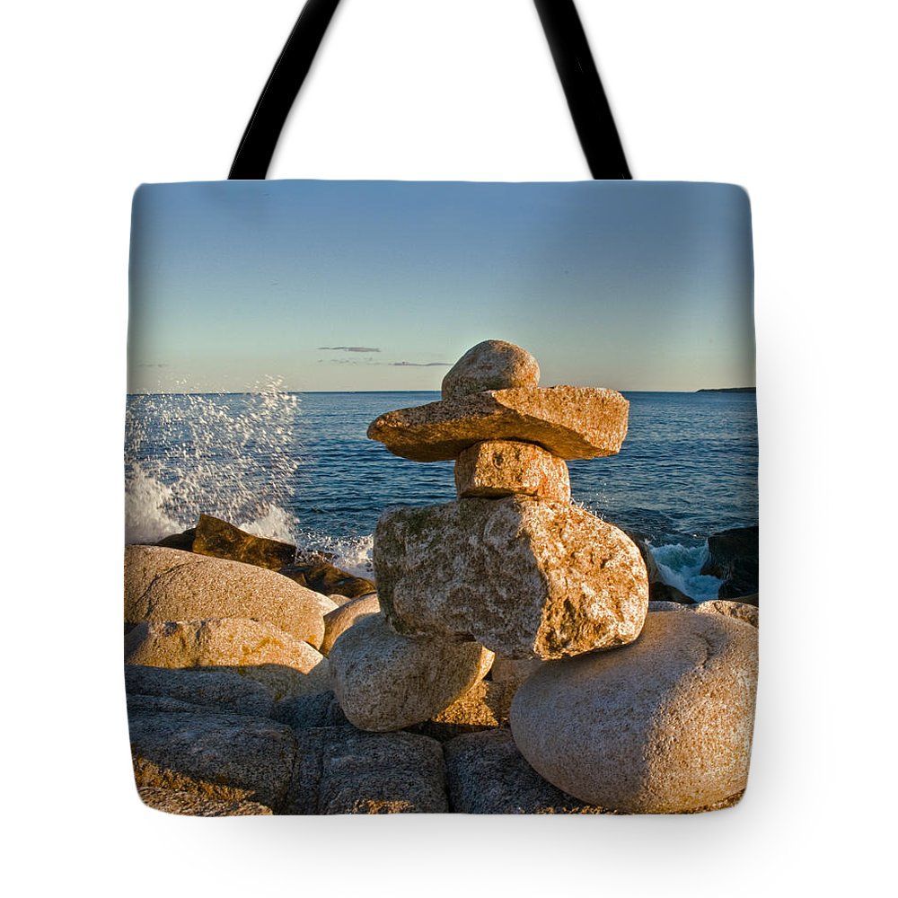 Hunts Point Nova Scotia Tote Bag featuring the photograph The Cairns Of Hunts Point Nova Scotia by Ginger Wakem