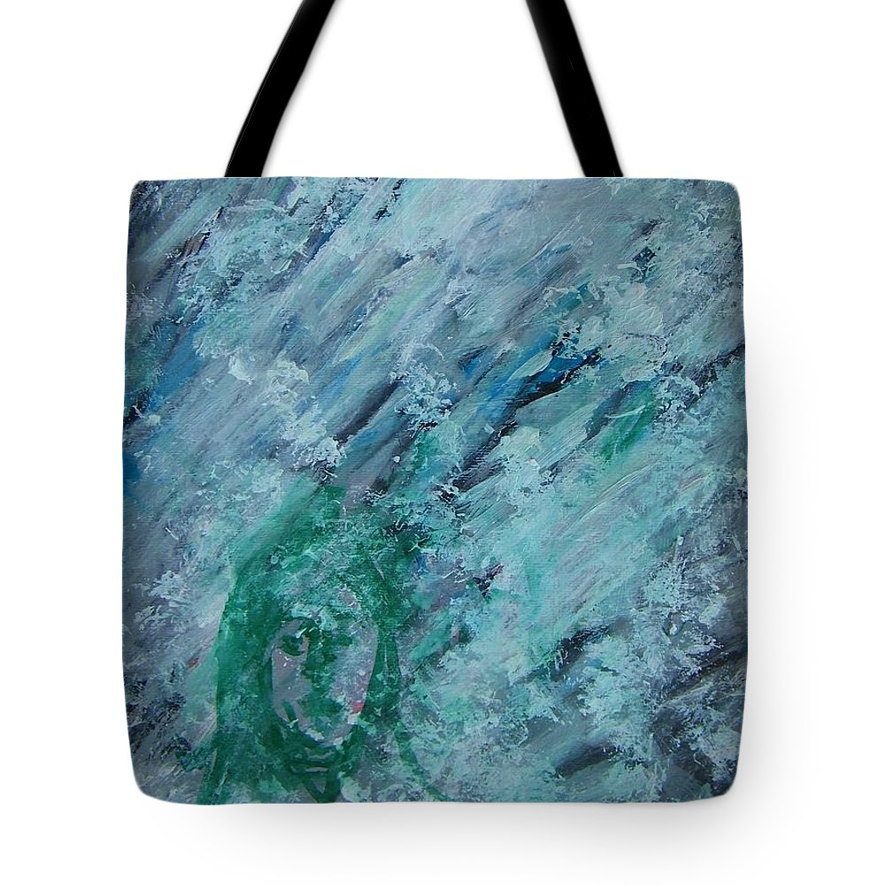 Abstract Tote Bag featuring the painting The California Snow by Judith Redman