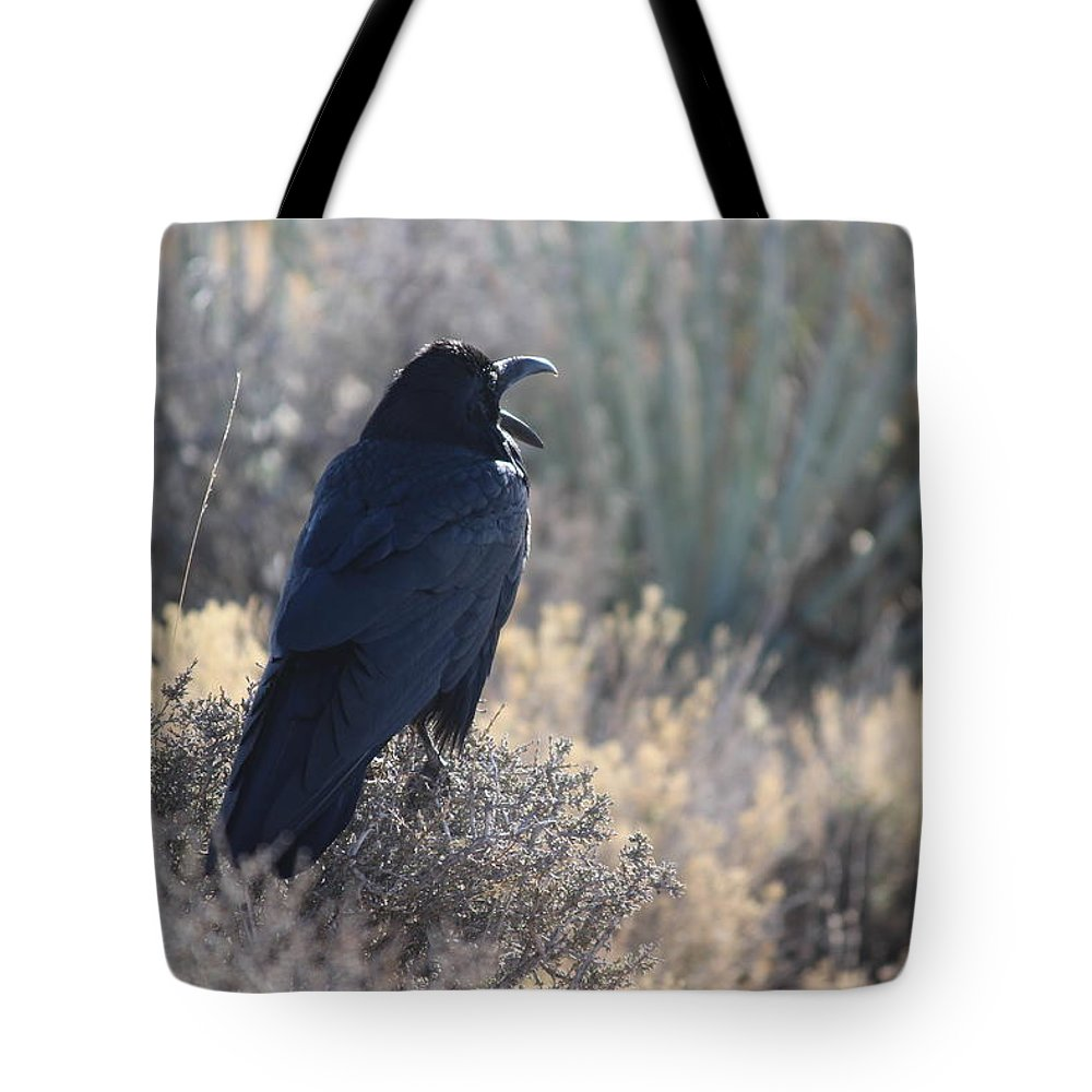 Raven Tote Bag featuring the photograph The Call by Fredrecka Bagnato