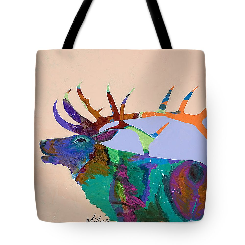 Elk Tote Bag featuring the painting The Call by Tracy Miller