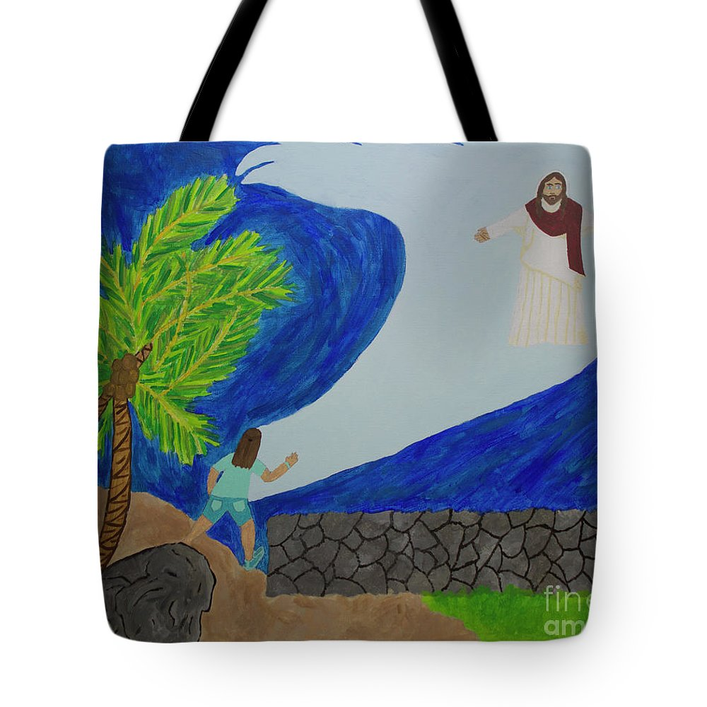 Jesus Tote Bag featuring the painting The Calm In My Storm by Tami Maldonado