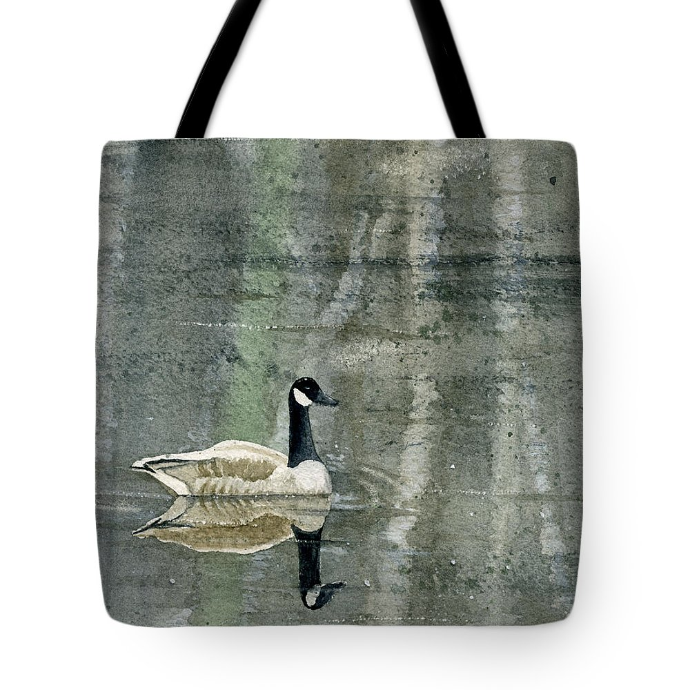 Canada Tote Bag featuring the painting The Canadian Goose by Mary Tuomi