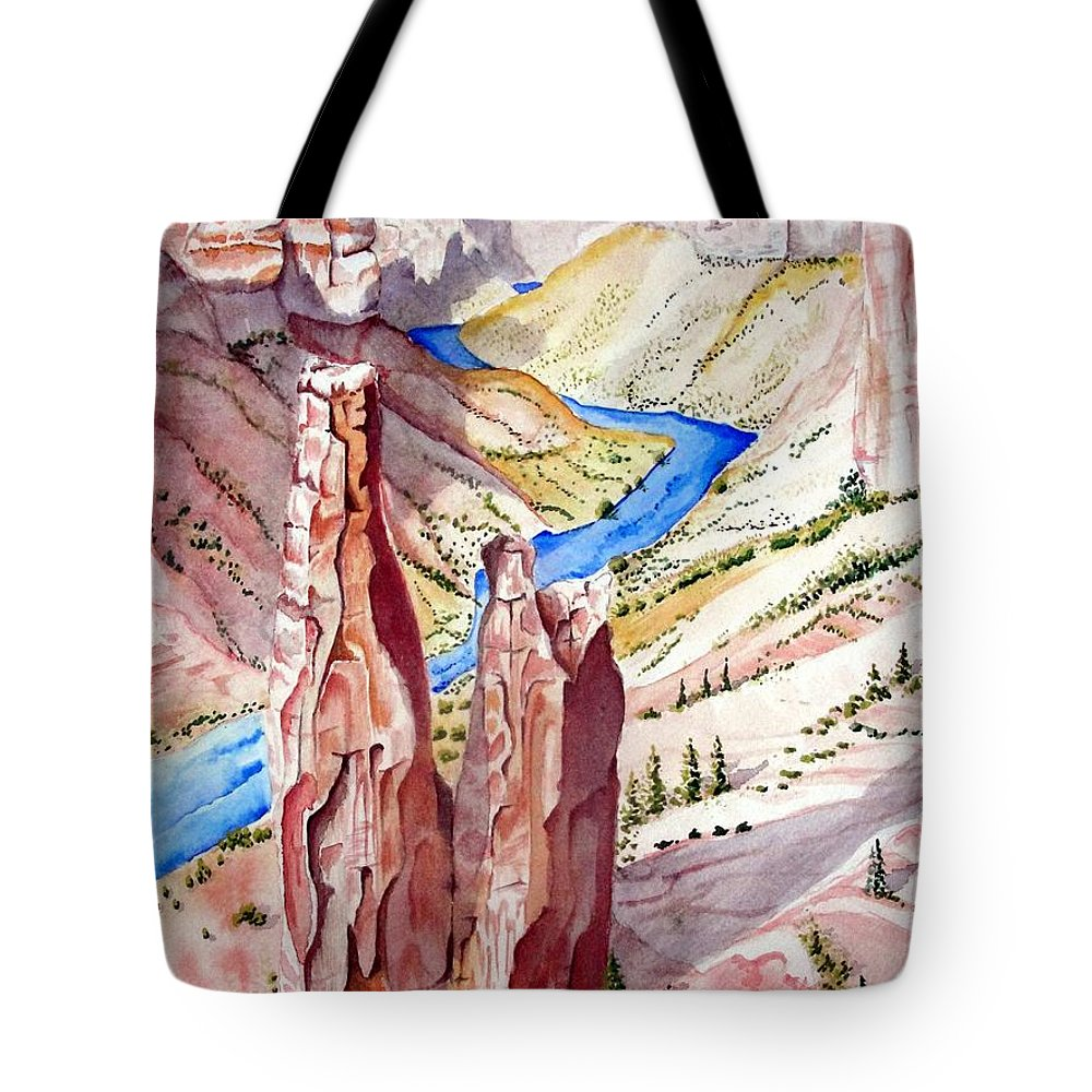 Canyon Tote Bag featuring the painting The Canyon by Jimmy Smith