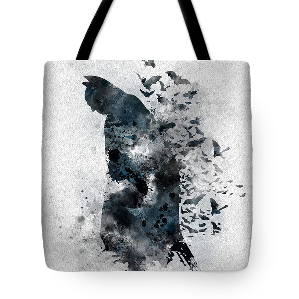 Batman Tote Bag featuring the mixed media The Caped Crusader by My Inspiration