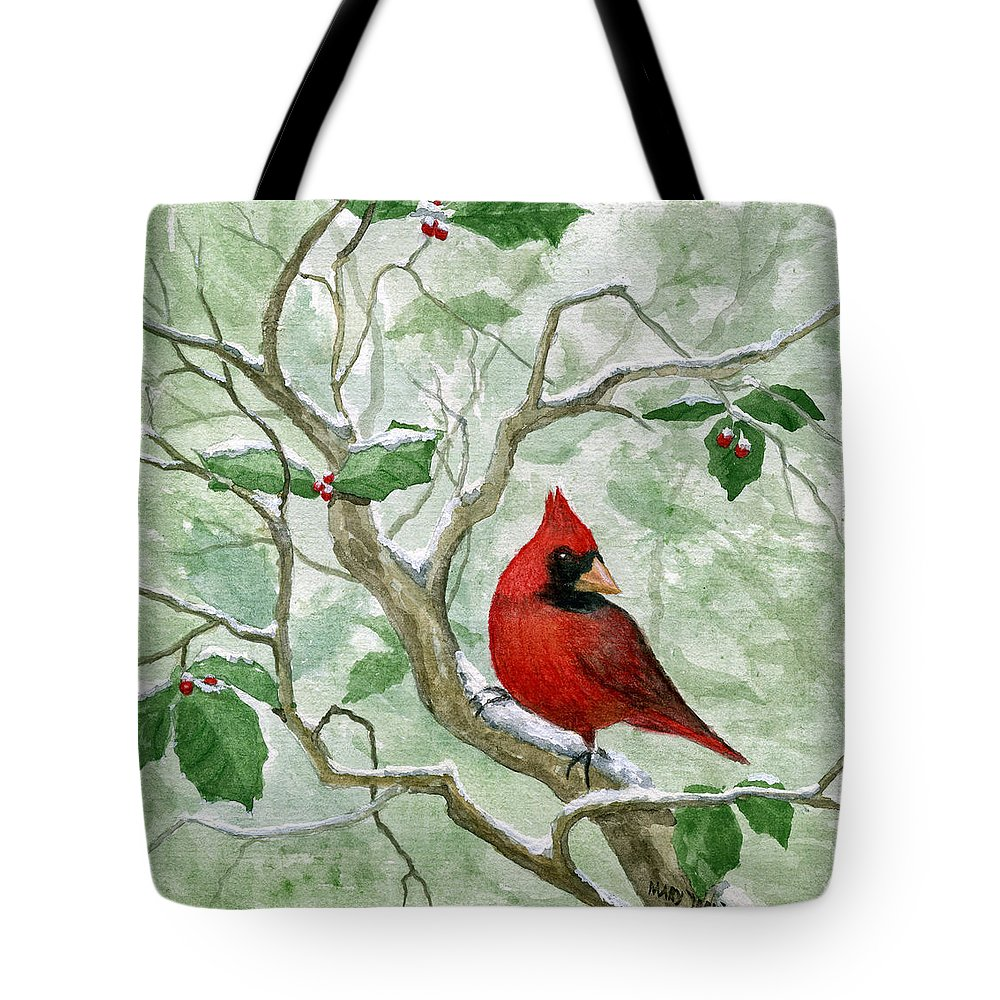 Cardinal Tote Bag featuring the painting The Cardinal by Mary Tuomi
