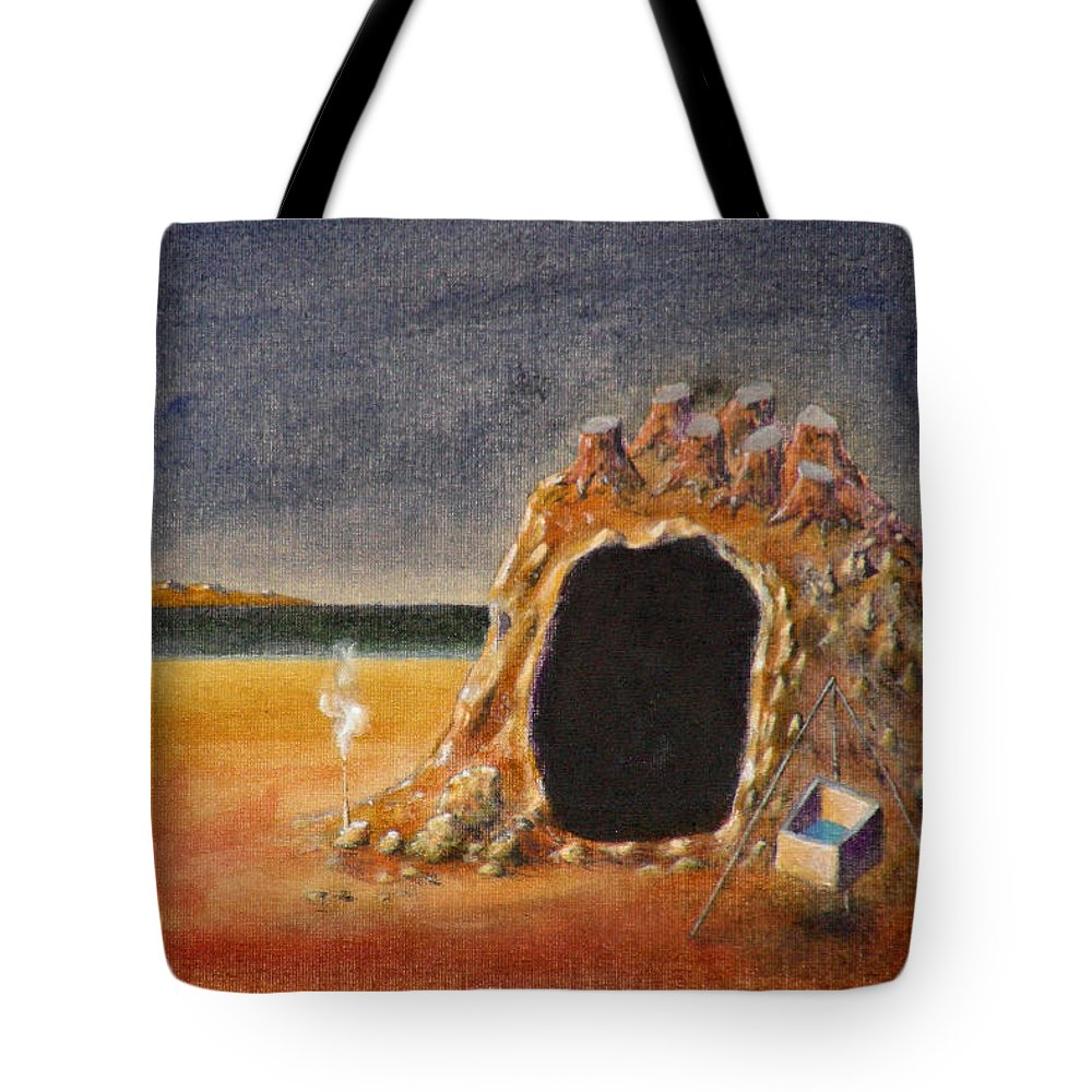 Metaphysacal Tote Bag featuring the painting The Cave Of Orpheas by Dimitris Milionis
