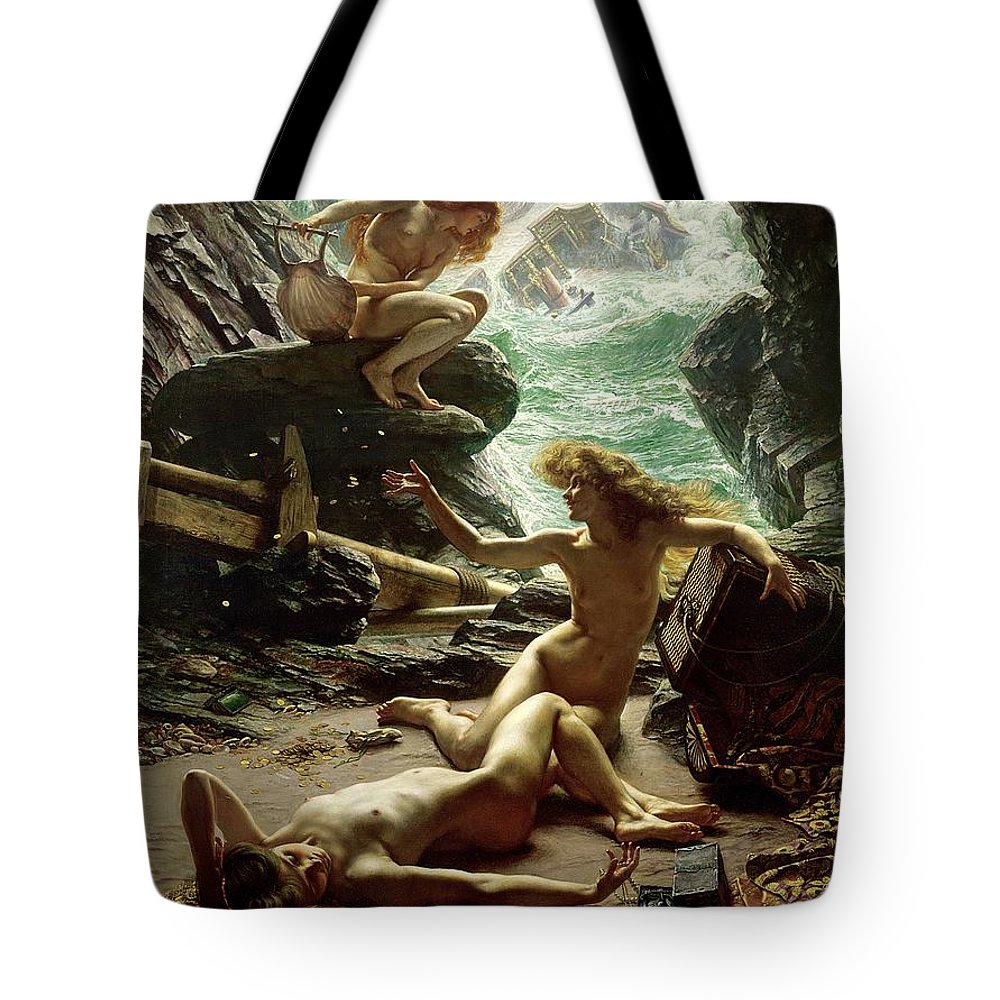 The Cave Of The Storm Nymphs Tote Bag featuring the painting The Cave of the Storm Nymphs by Sir Edward John Poynter