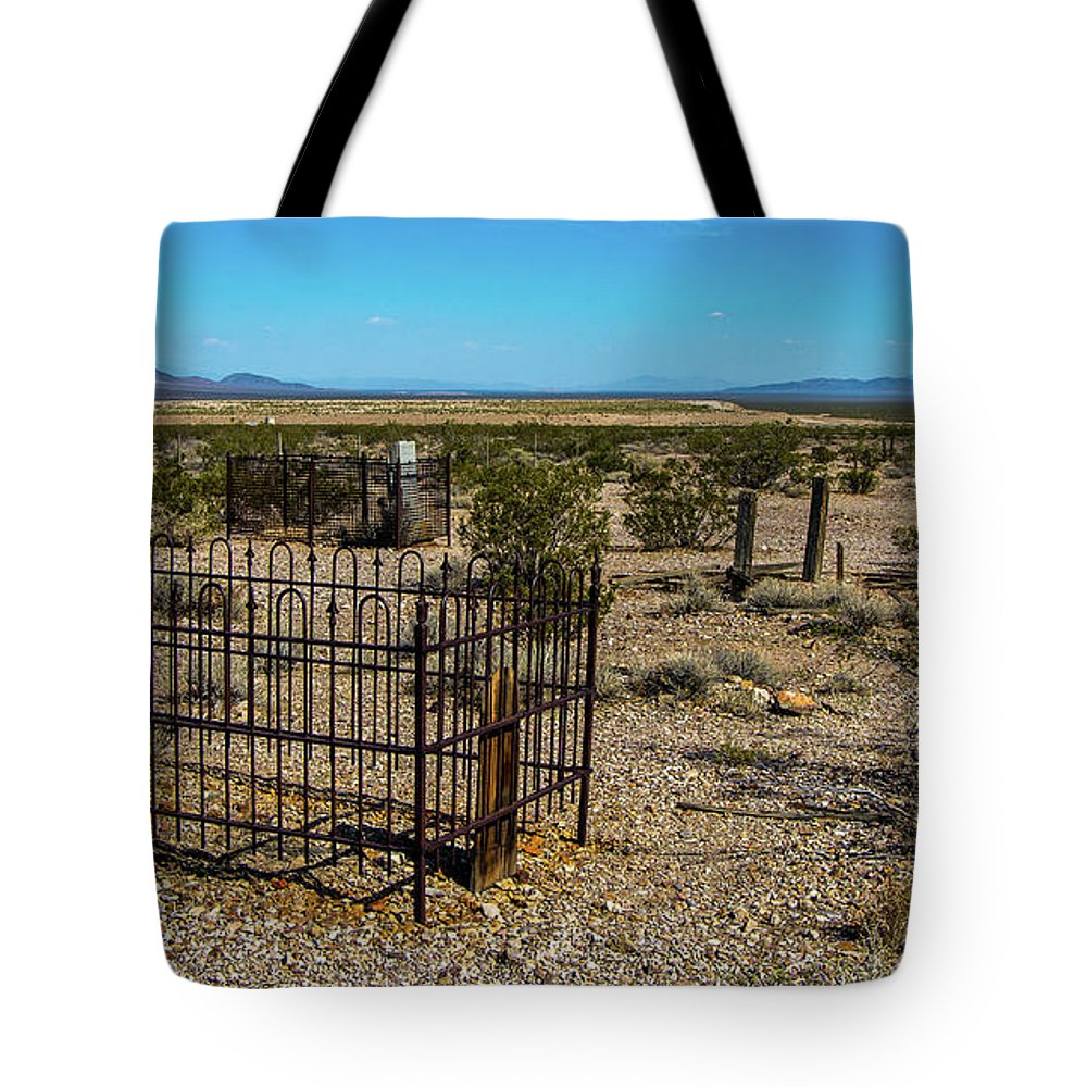 Rhyolite Tote Bag featuring the photograph The Cemetery by Stephen Whalen