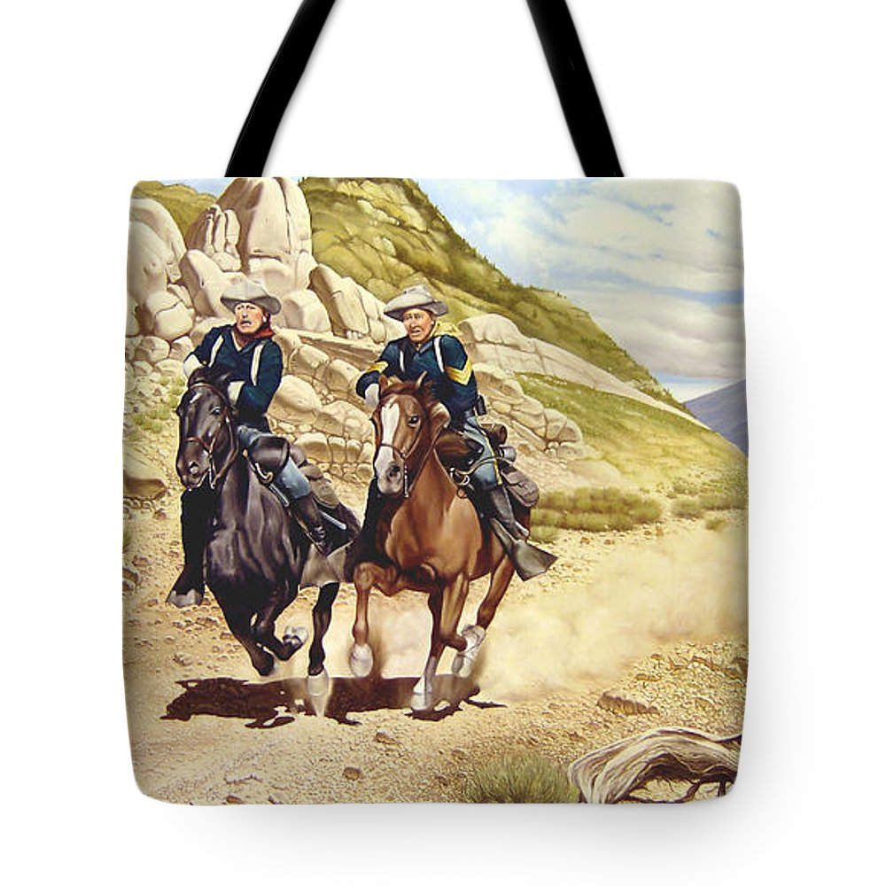 Western Tote Bag featuring the painting The Chase by Marc Stewart