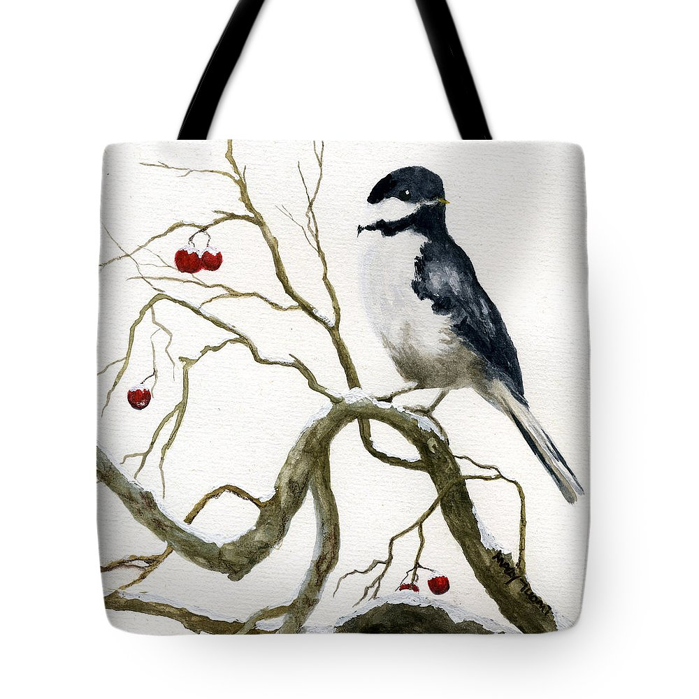 Birds Tote Bag featuring the painting The Chickadee by Mary Tuomi
