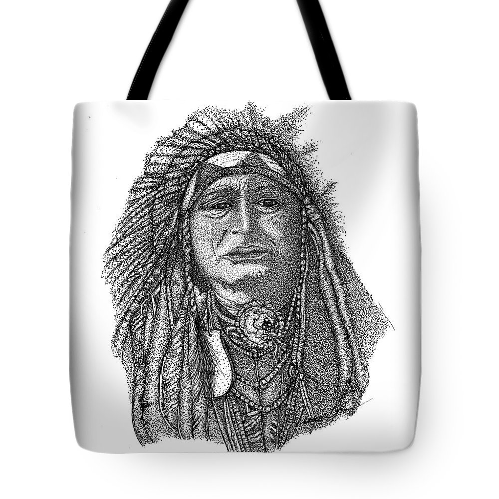 Indian Art Tote Bag featuring the drawing The Chief by Jennifer Campbell Brewer