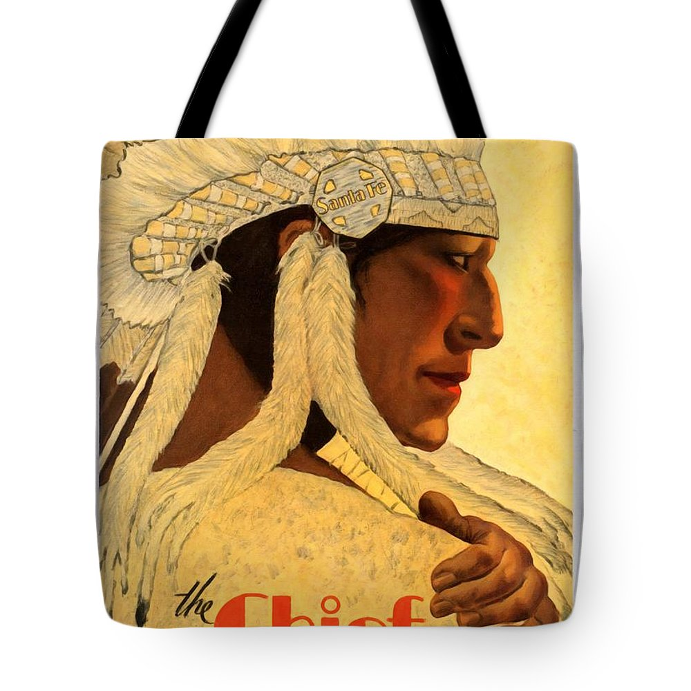 Vintage Poster Tote Bag featuring the mixed media The Chief Train - Vintage Poster Restored by Vintage Advertising Posters