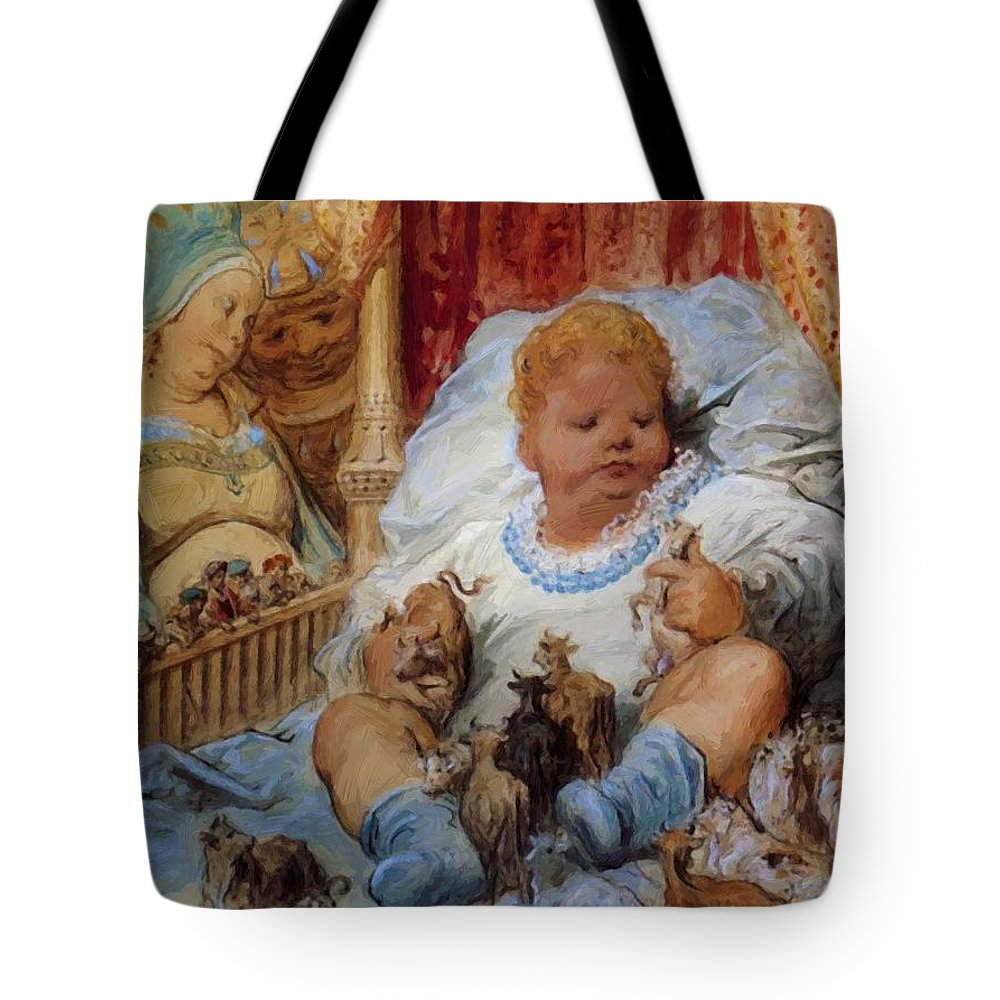 The Tote Bag featuring the painting The Childhood Of Pantagruel by Dore Gustave