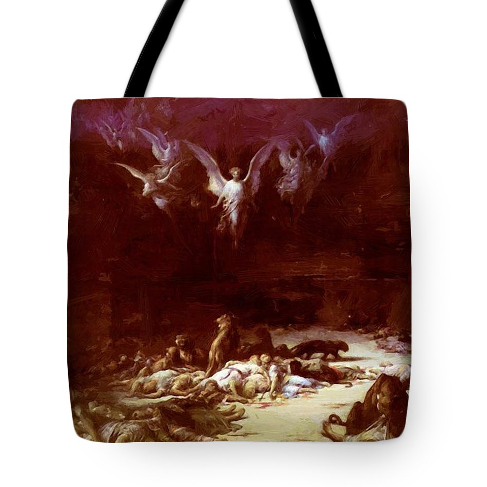 The Tote Bag featuring the painting The Christian Martyrs by Dore Gustave