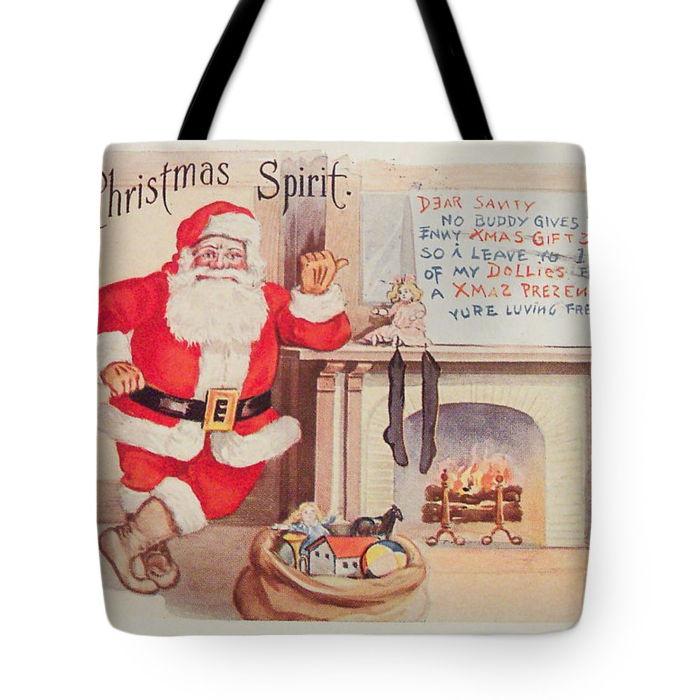 The Christmas Spirit Vintage Card Santa Next To Fireplace Tote Bag ...