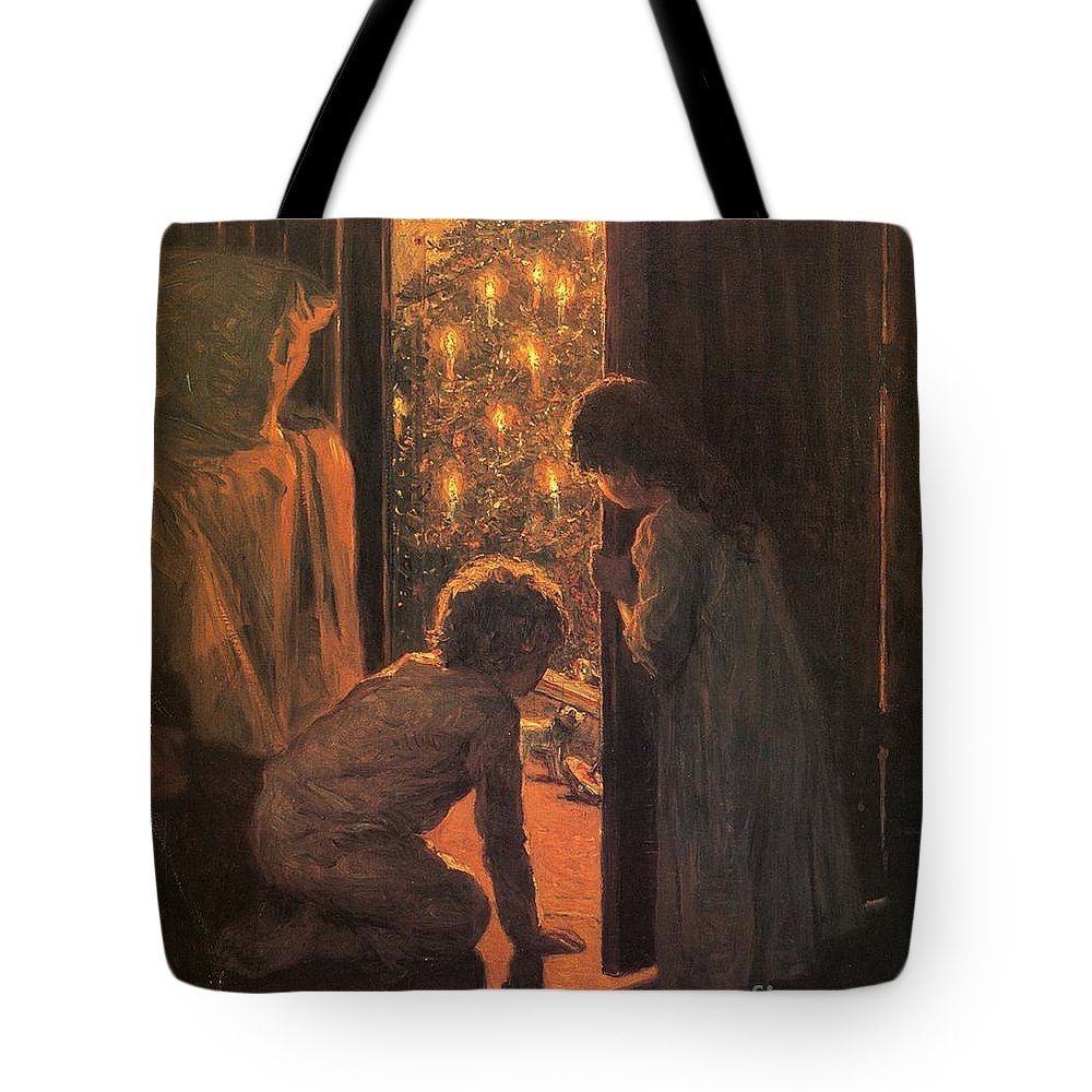 The Christmas Tree Tote Bag featuring the painting The Christmas Tree by Henry Mosler