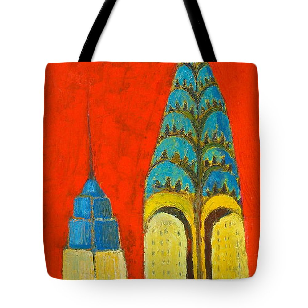Tote Bag featuring the painting The Chrysler And The Empire State by Habib Ayat