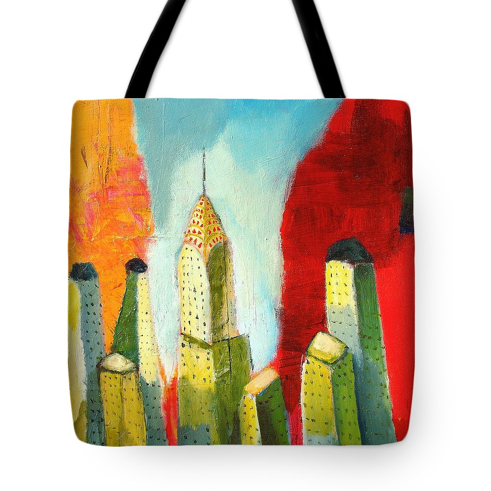 Abstract Cityscape Tote Bag featuring the painting The Chrysler In Colors by Habib Ayat