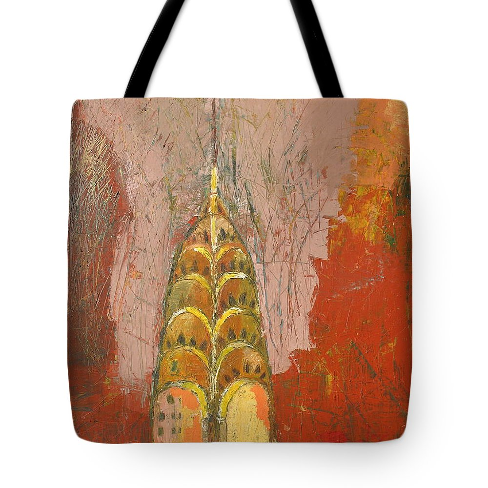 Abstract Cityscape Tote Bag featuring the painting The Chrysler In Motion by Habib Ayat