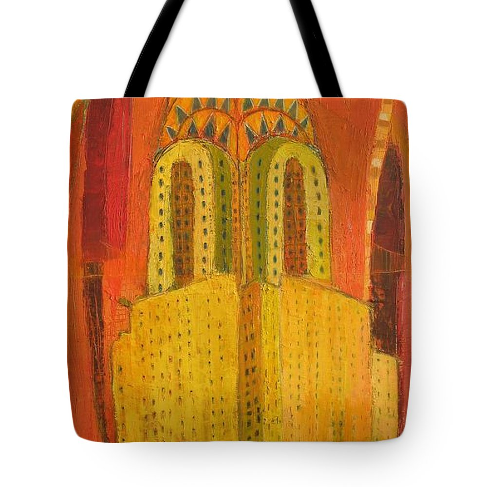 Abstract Cityscape Tote Bag featuring the painting The Chrysler In Red by Habib Ayat
