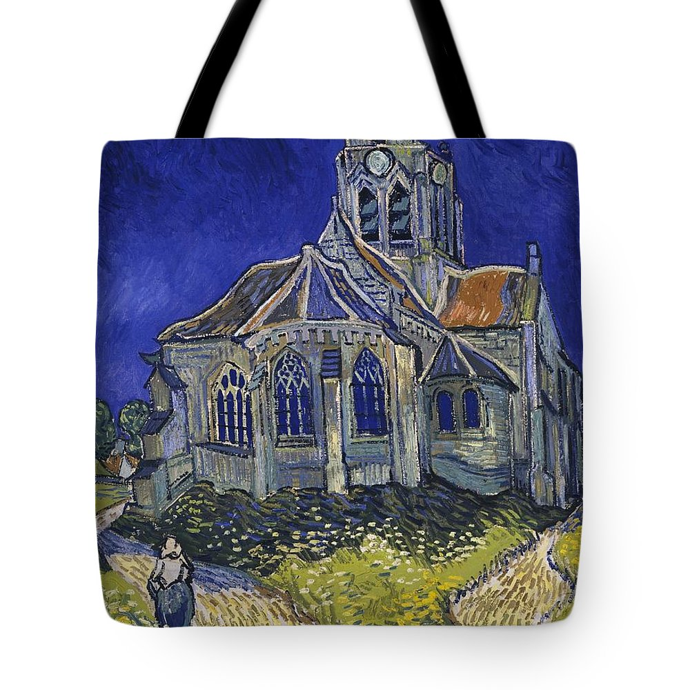 Vincent Van Gogh Tote Bag featuring the painting The Church At Auvers by Van Gogh