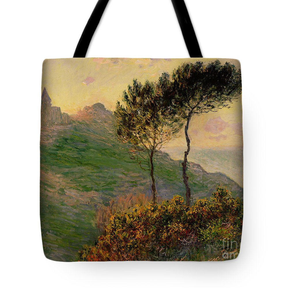 The Church At Varengeville Tote Bag featuring the painting The Church At Varengeville Against The Sunlight by Claude Monet