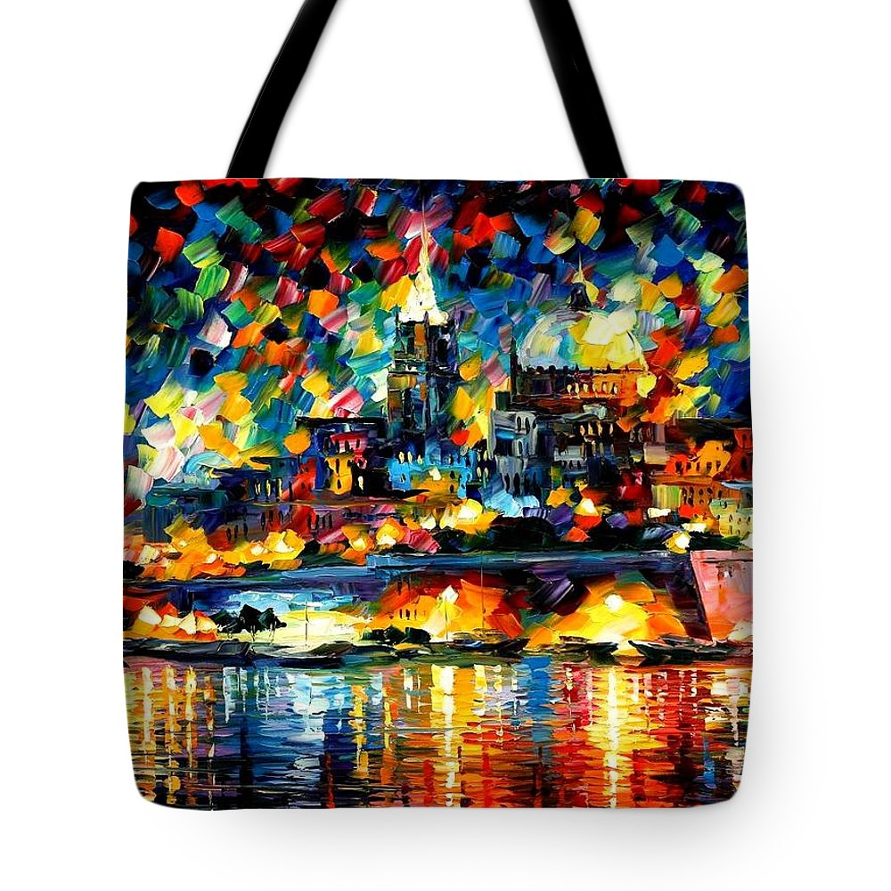 Afremov Tote Bag featuring the painting The City Of Valetta - Malta by Leonid Afremov