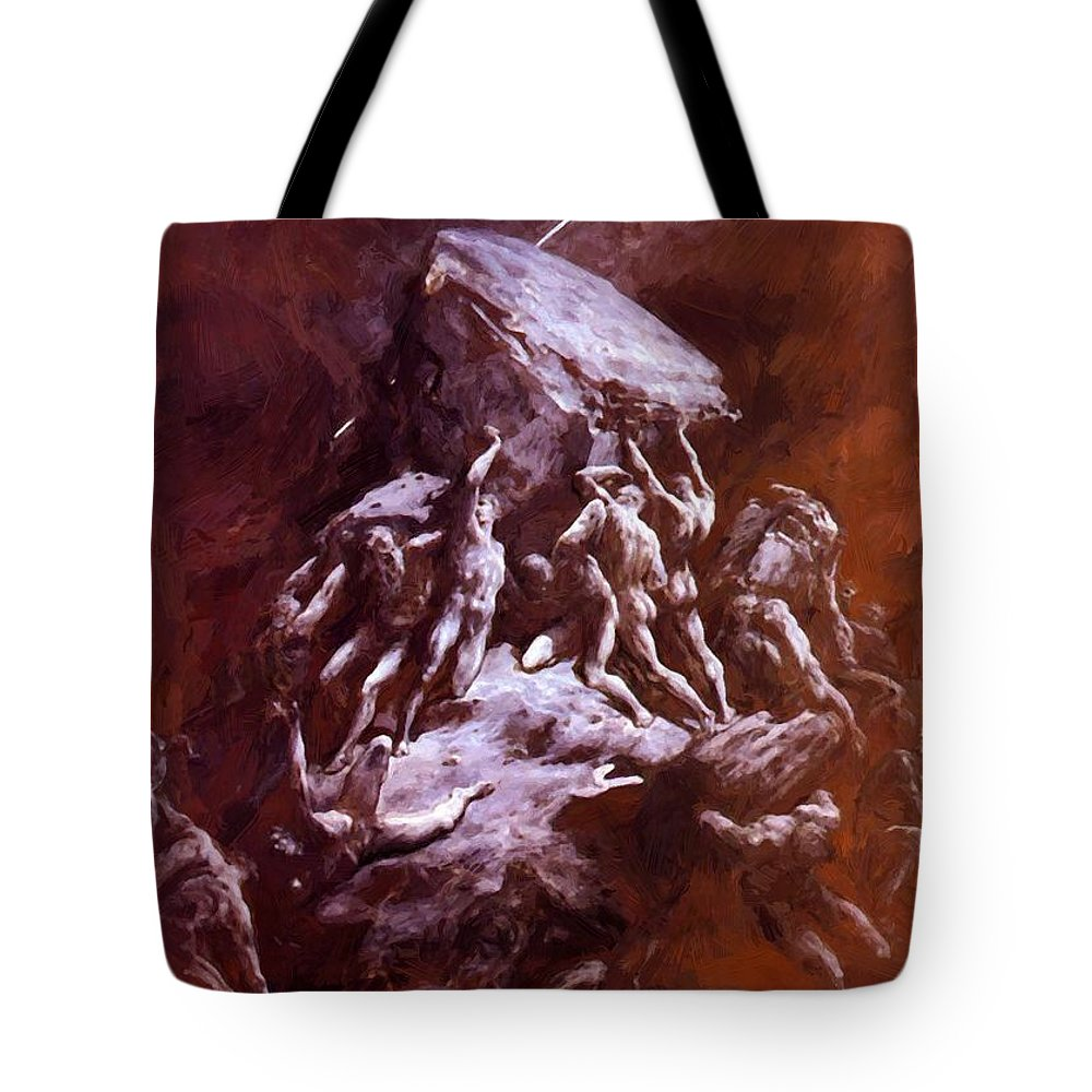 The Tote Bag featuring the painting The Clash Of The Titans 1866 by Dore Gustave