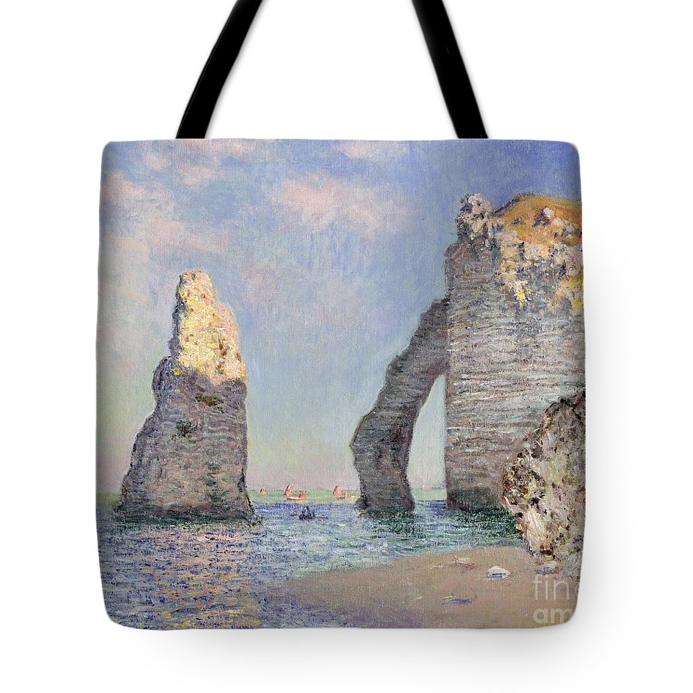 The Cliffs At Etretat Tote Bag featuring the painting The Cliffs at Etretat by Claude Monet