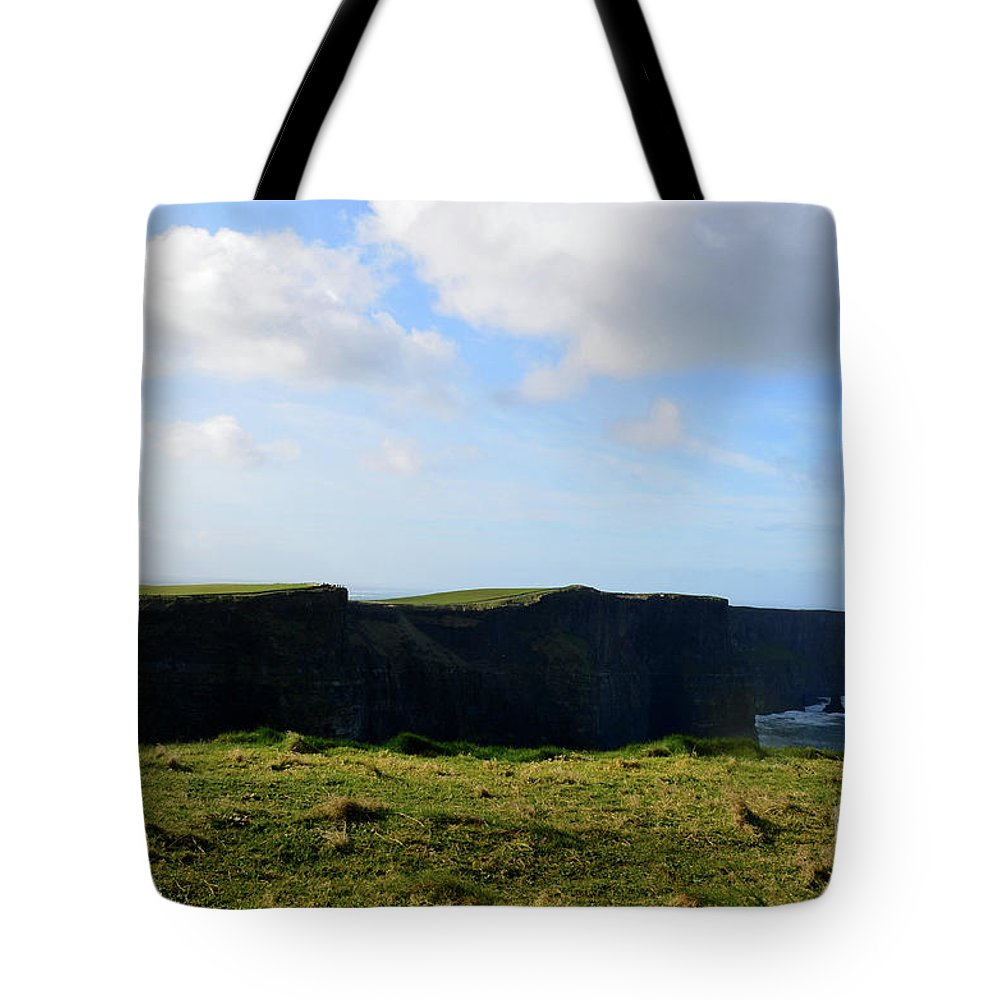 Cliffs-of-moher Tote Bag featuring the photograph The Cliff's Of Moher In Ireland With Beautiful Skies by DejaVu Designs