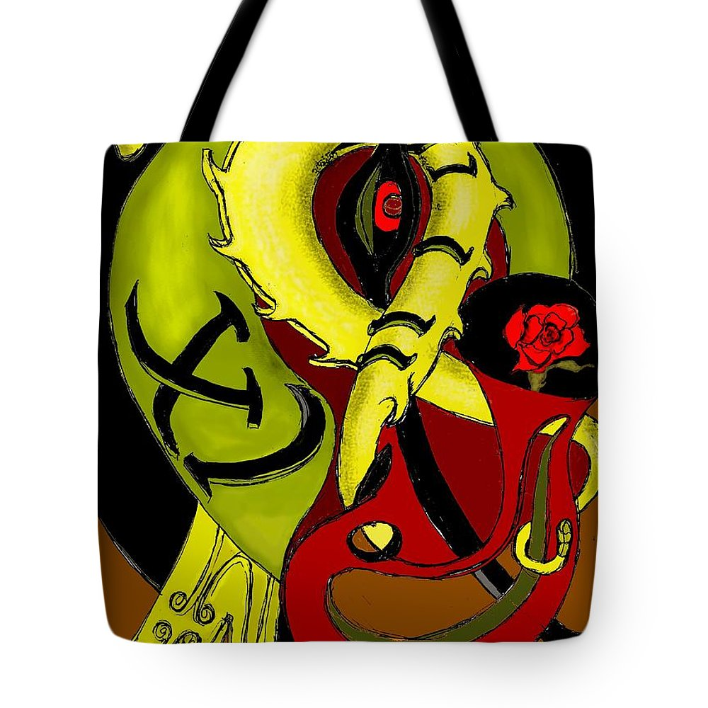 Clock Tote Bag featuring the digital art The Clock by Helmut Rottler