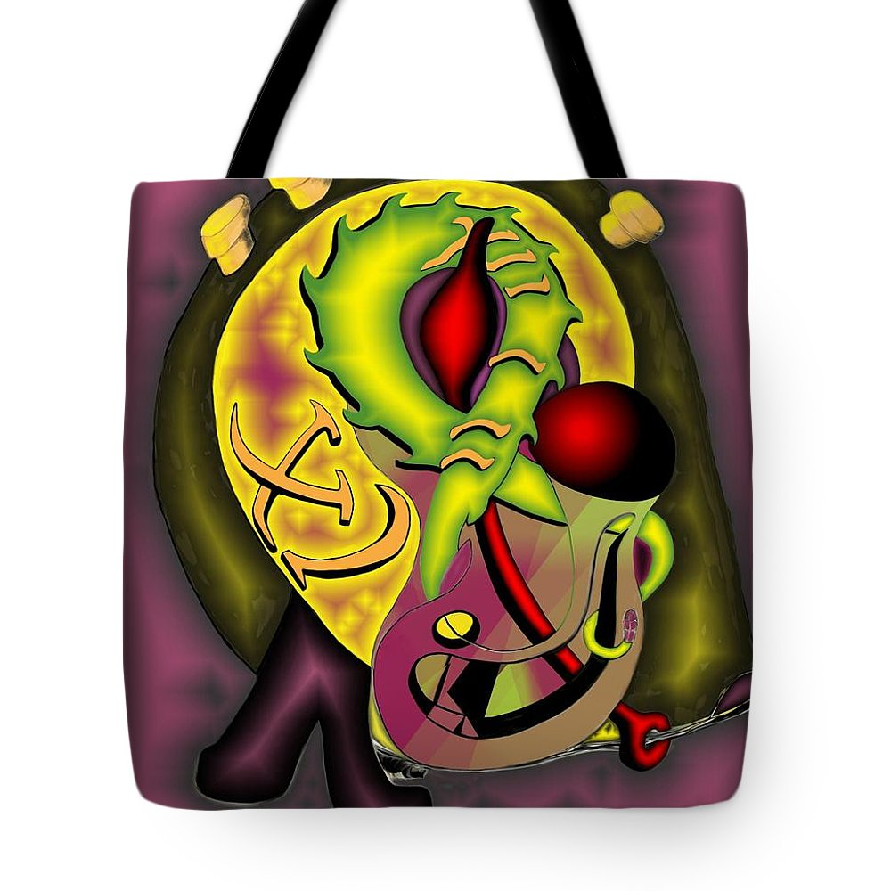 'the Clock Ii' Tote Bag featuring the digital art The Clock II by Helmut Rottler