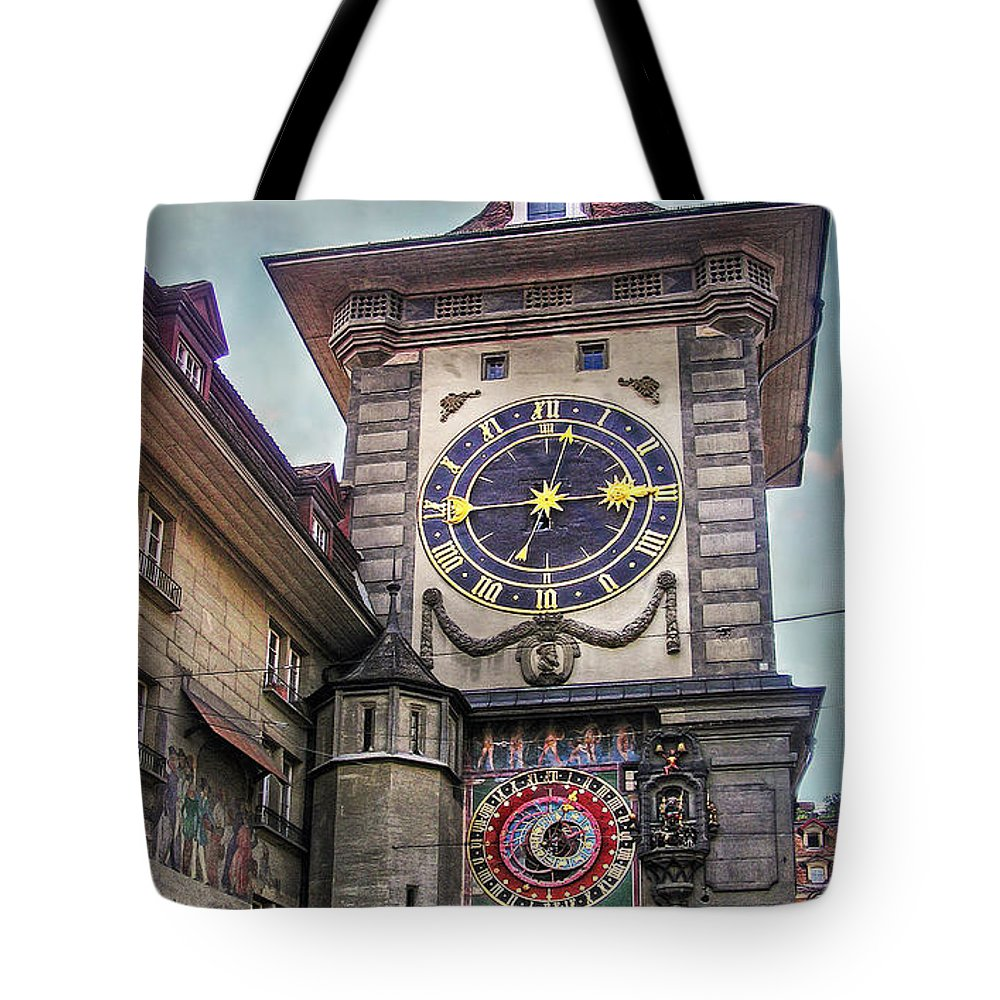 Switzerland Tote Bag featuring the photograph The Clock Of Clocks by Hanny Heim
