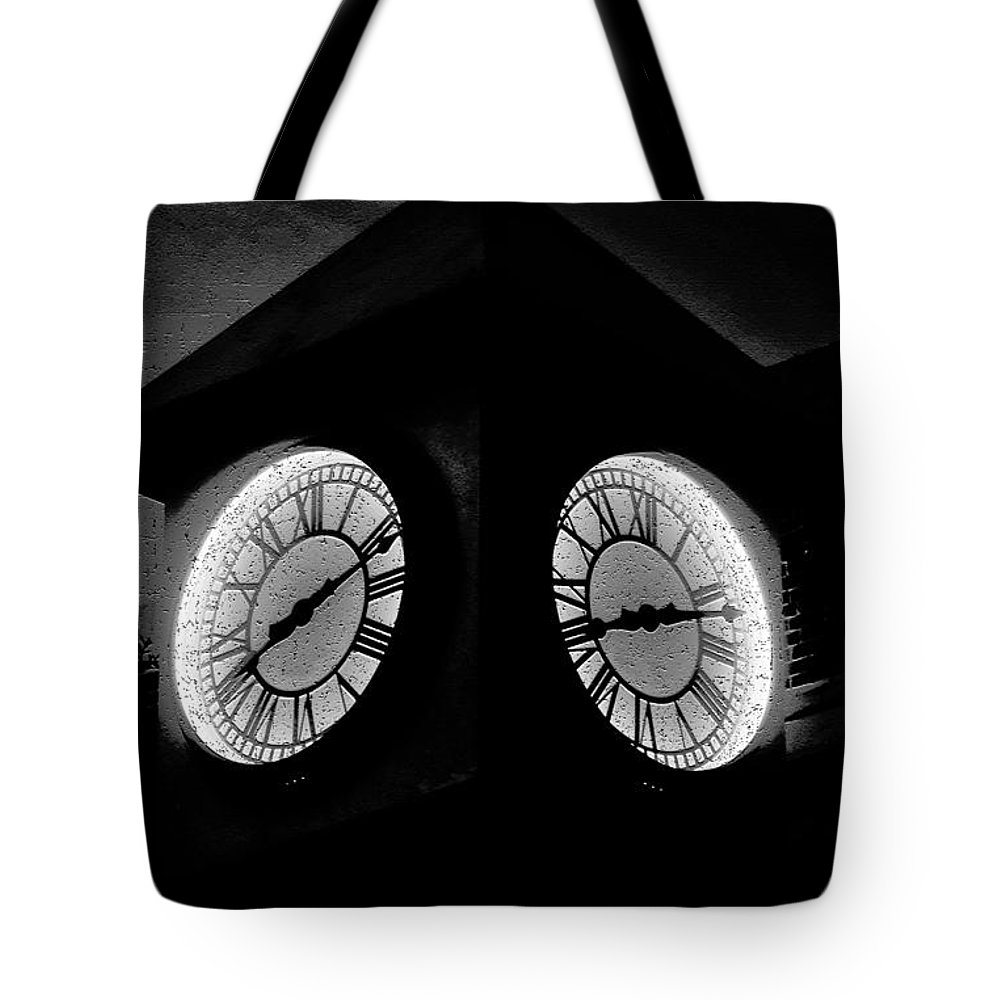 Clock Tote Bag featuring the painting The Clock Tower by David Lee Thompson