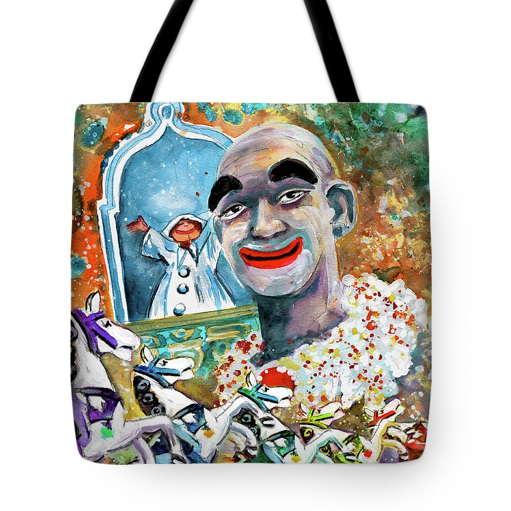 Travel Tote Bag featuring the painting The Clown Of Tivoli Gardens by Miki De Goodaboom