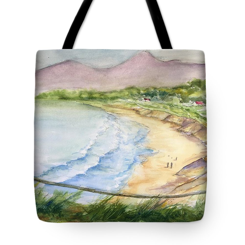 Ocean Tote Bag featuring the mixed media The Coast by Iva Fendrick