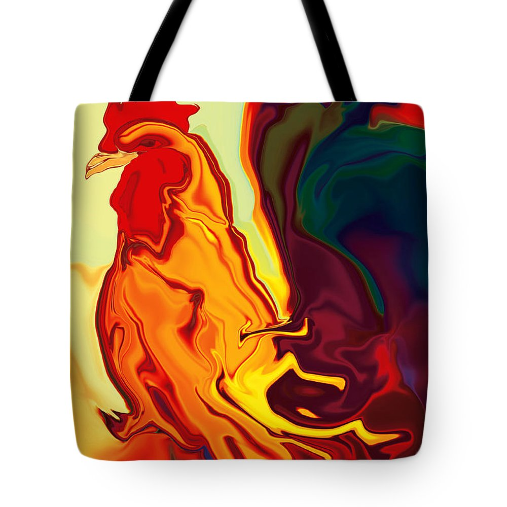 Animals Tote Bag featuring the digital art The Cock by Rabi Khan